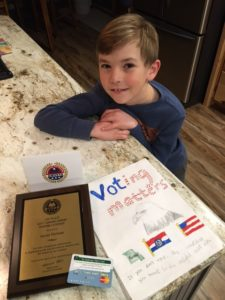 Lucas is a proud, young American, and winner of AMVETS' recent Americanism poster contest.